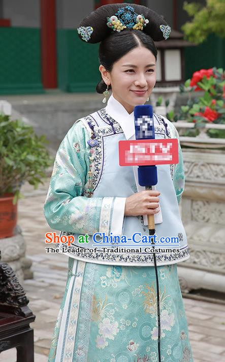 Traditional Chinese Ancient Qing Dynasty Manchu Palace Lady Embroidered Costume