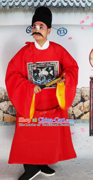 Chinese Beijing Opera County Magistrate Costume Red Embroidered Robe, China Peking Opera Officer Embroidery Clothing