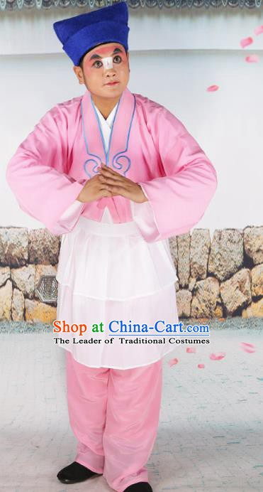 Chinese Beijing Opera Waiter Pink Costume, China Peking Opera Clown Embroidery Clothing