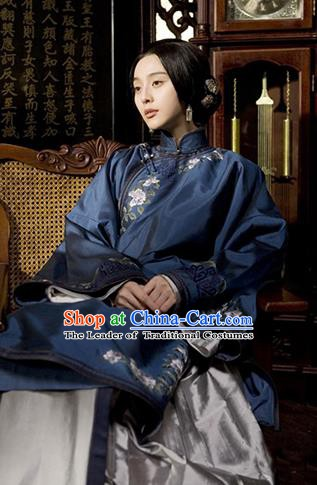 Traditional Chinese Ancient Late Qing Dynasty Nobility Lady Embroidered Blue Xiuhe Suit Costume