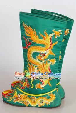 Chinese Beijing Opera Emperor Green Embroidered Boots, China Peking Opera Takefu General Embroidery Dragons Shoes