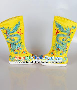 Chinese Beijing Opera Emperor Yellow Embroidered Boots, China Peking Opera Takefu General Embroidery Dragons Shoes