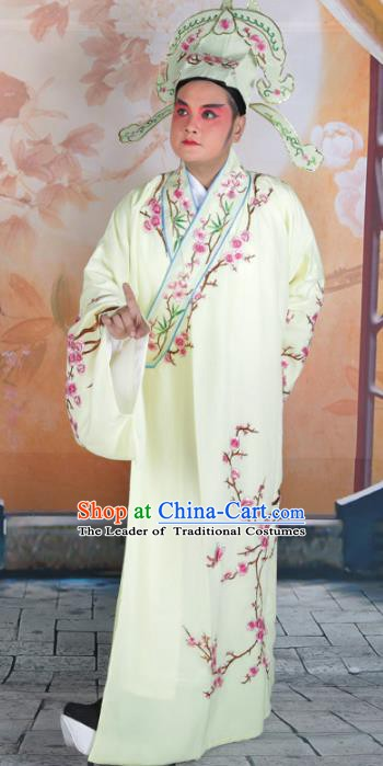 Chinese Beijing Opera Niche Costume Yellow Embroidered Robe, China Peking Opera Scholar Embroidery Clothing
