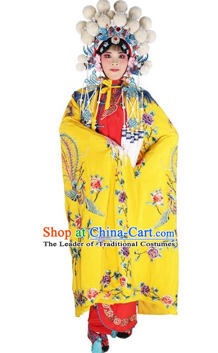 Chinese Beijing Opera Female Soldier Costume Embroidered Yellow Cloak, China Peking Opera Blues Embroidery Mantle Clothing