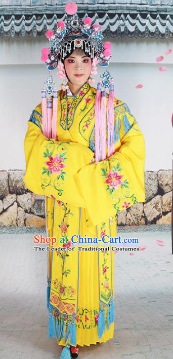 Chinese Beijing Opera Diva Palace Lady Embroidered Yellow Costume, China Peking Opera Actress Embroidery Clothing