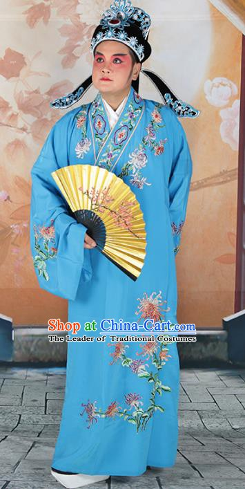 hinese Beijing Opera Niche Costume Blue Embroidered Robe, China Peking Opera Scholar Embroidery Chrysanthemum Clothing