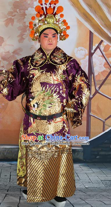 Chinese Beijing Opera Prime Minister Costume Purple Embroidered Robe, China Peking Opera Officer Embroidery Clothing