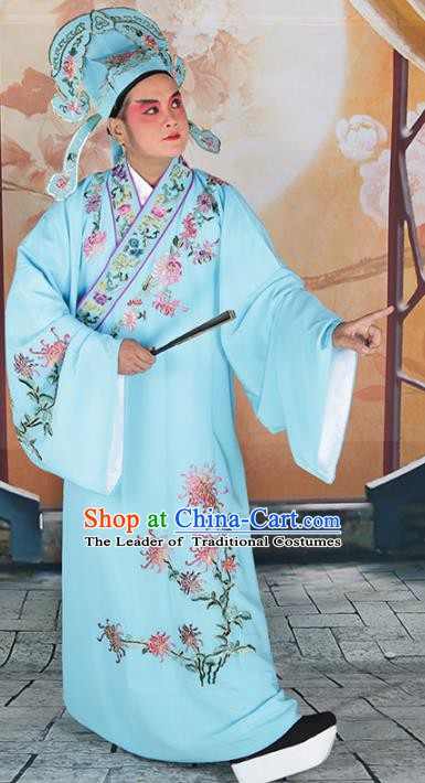 Chinese Beijing Opera Niche Costume Blue Embroidered Robe, China Peking Opera Scholar Embroidery Chrysanthemum Clothing