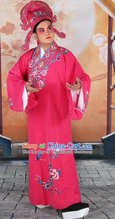 Chinese Beijing Opera Niche Costume Peach Pink Embroidered Robe, China Peking Opera Scholar Embroidery Peony Clothing