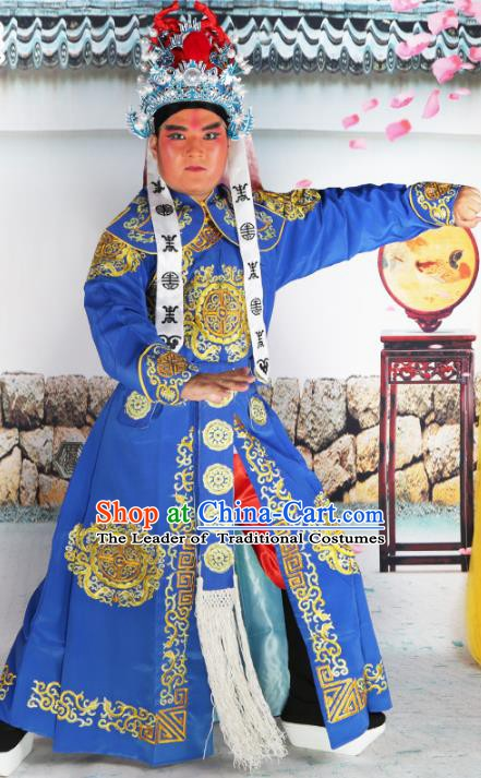 Chinese Beijing Opera Takefu Costume Blue Embroidered Robe, China Peking Opera Imperial Bodyguard Embroidery Clothing