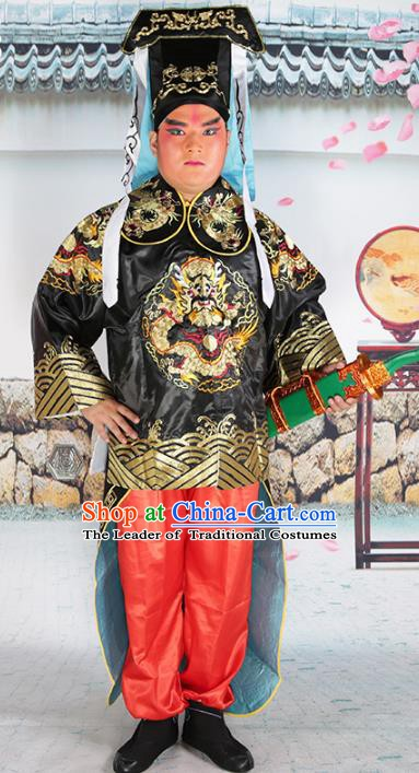 Chinese Beijing Opera Takefu Costume Black Embroidered Robe, China Peking Opera Imperial Bodyguard Embroidery Clothing