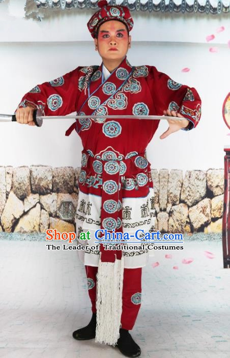 Chinese Beijing Opera Takefu Costume Embroidered Robe, China Peking Opera Warrior Embroidery Clothing