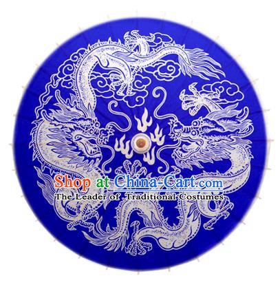 China Traditional Dance Handmade Umbrella Painting Dragon Blue Oil-paper Umbrella Stage Performance Props Umbrellas