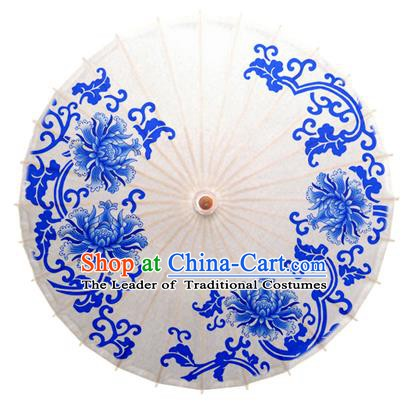 China Traditional Dance Handmade Umbrella Printing Blue Peony Oil-paper Umbrella Stage Performance Props Umbrellas