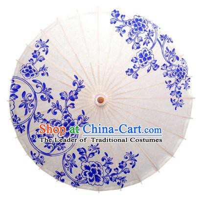 China Traditional Dance Handmade Umbrella Printing Blue Peony Flowers Oil-paper Umbrella Stage Performance Props Umbrellas