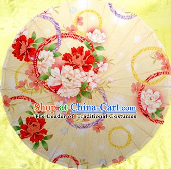 China Traditional Dance Handmade Umbrella Painting Peony Flowers Oil-paper Umbrella Stage Performance Props Umbrellas