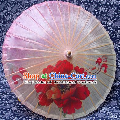 China Traditional Dance Handmade Umbrella Painting Peony Pink Oil-paper Umbrella Stage Performance Props Umbrellas
