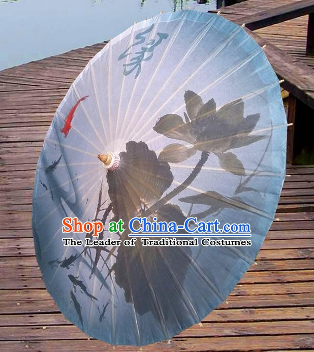China Traditional Dance Handmade Umbrella Ink Painting Lotus Oil-paper Umbrella Stage Performance Props Umbrellas