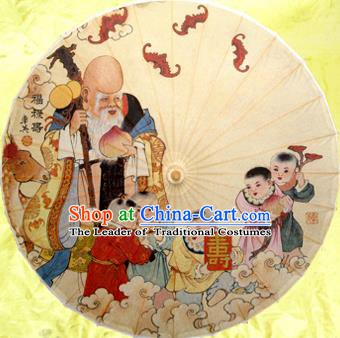 Handmade China Traditional Dance Painting God of Longevity Umbrella Oil-paper Umbrella Stage Performance Props Umbrellas