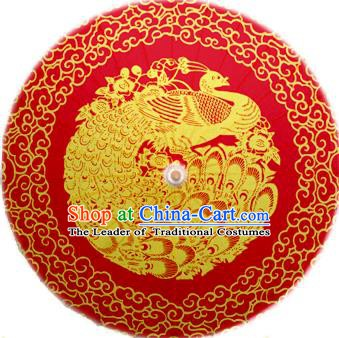 Handmade China Traditional Dance Painting Phoenix Wedding Red Umbrella Oil-paper Umbrella Stage Performance Props Umbrellas