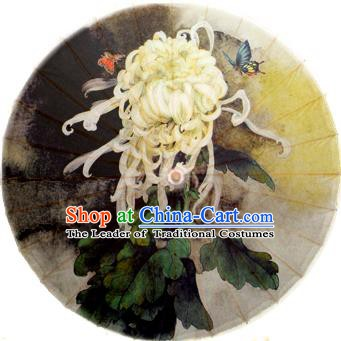 Handmade China Traditional Dance Painting White Chrysanthemum Umbrella Oil-paper Umbrella Stage Performance Props Umbrellas