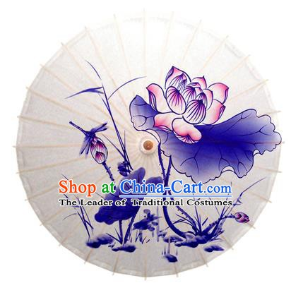 China Traditional Dance Handmade Umbrella Printing Dragonfly Lotus Oil-paper Umbrella Stage Performance Props Umbrellas