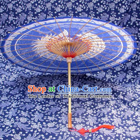 Handmade China Traditional Folk Dance Umbrella Painting Phoenix Blue Oil-paper Umbrella Stage Performance Props Umbrellas