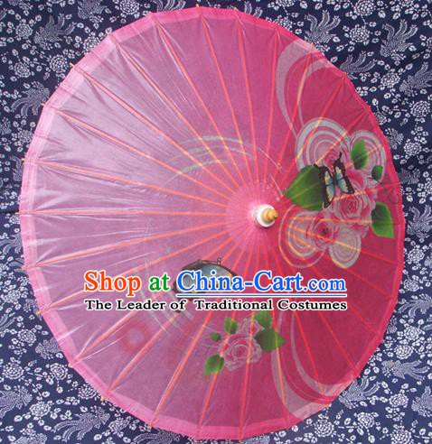 Handmade China Traditional Folk Dance Umbrella Painting Rose Pink Oil-paper Umbrella Stage Performance Props Umbrellas