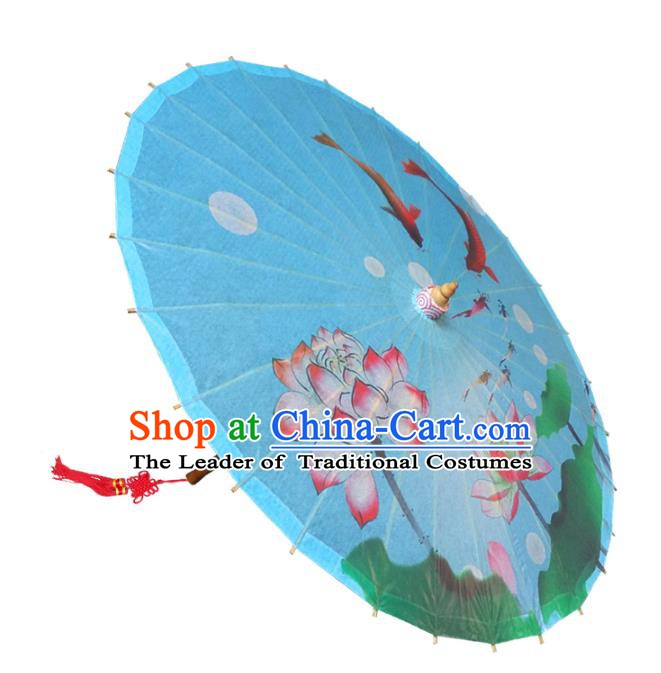 Handmade China Traditional Dance Umbrella Classical Painting Lotus Blue Oil-paper Umbrella Stage Performance Props Umbrellas