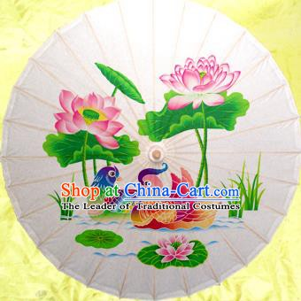 Handmade China Traditional Dance Umbrella Classical Painting Lotus Mandarin Duck Oil-paper Umbrella Stage Performance Props Umbrellas
