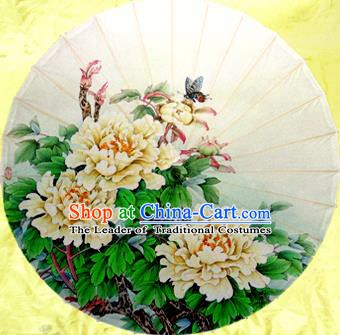 Handmade China Traditional Dance Umbrella Classical Painting Peony White Oil-paper Umbrella Stage Performance Props Umbrellas