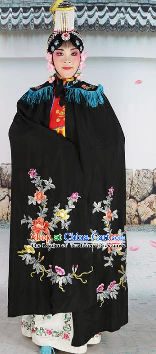 Chinese Beijing Opera Diva Imperial Empress Costume Black Embroidered Cloak, China Peking Opera Actress Embroidery Mantle Clothing