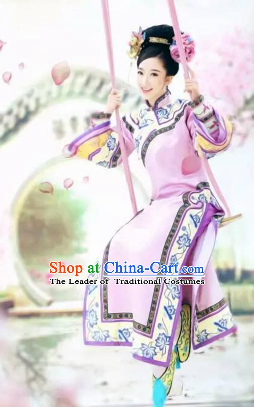 Traditional Chinese Ancient Qing Dynasty Manchu Imperial Concubine Embroidered Mandarin Robe Costume for Women