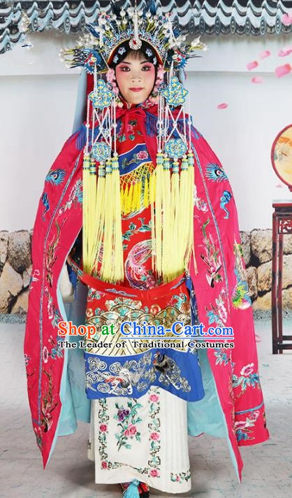 Chinese Beijing Opera Diva Costume Rosy Embroidered Cloak, China Peking Opera Actress Embroidery Mantle Clothing