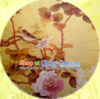 Handmade China Traditional Dance Wedding Umbrella Classical Painting Peony Oil-paper Umbrella Stage Performance Props Umbrellas