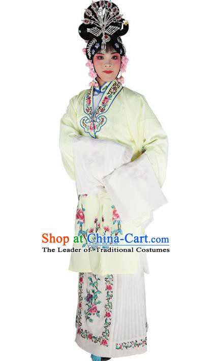 Chinese Beijing Opera Diva Embroidered Yellow Costume, China Peking Opera Actress Embroidery Clothing