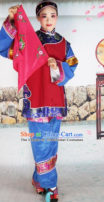 Chinese Beijing Opera Landlord Shiva Embroidered Red Costume, China Peking Opera Pantaloon Embroidery Clothing