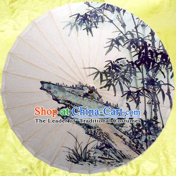 Handmade China Traditional Folk Dance Umbrella Painting Bamboo Stone Oil-paper Umbrella Stage Performance Props Umbrellas