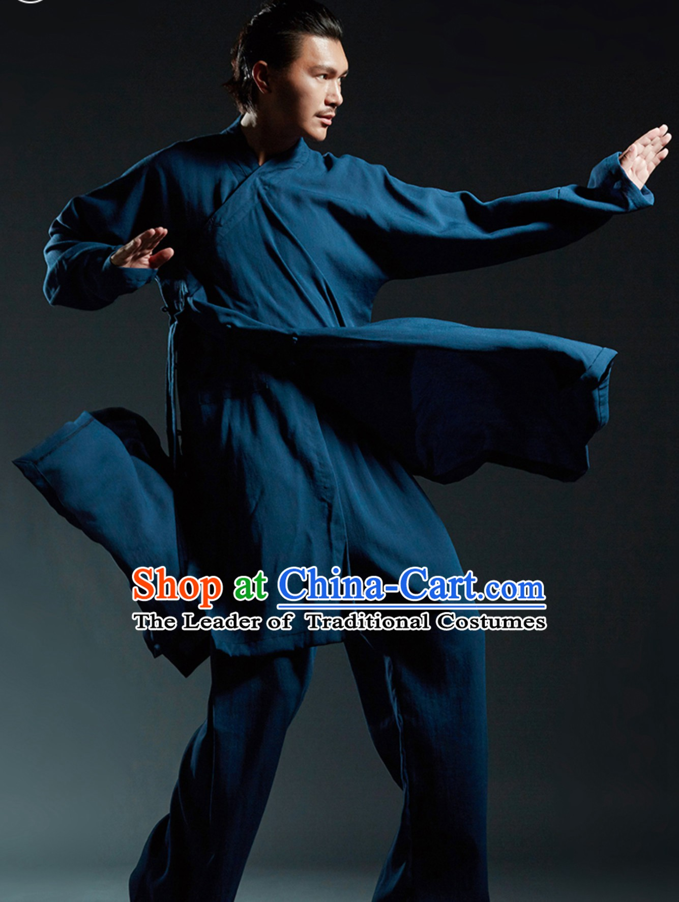 Deep Blue Chinese Classical Tai Chi Wushu Martial Arts Uniform Clothing Complete Set for Men Women Kids