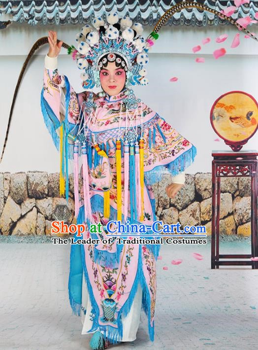 Chinese Beijing Opera Female General Embroidered Pink Costume, China Peking Opera Blues Embroidery Clothing