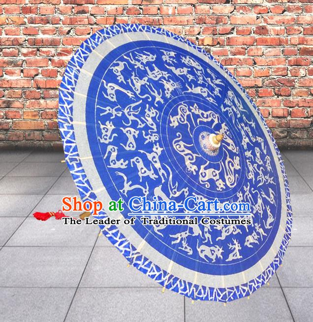 Handmade China Traditional Folk Dance Umbrella Printing Dragon Blue Oil-paper Umbrella Stage Performance Props Umbrellas
