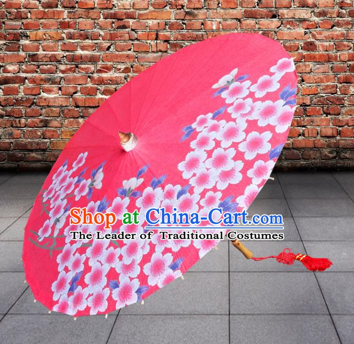 China Traditional Folk Dance Umbrella Hand Painting Flowers Red Oil-paper Umbrella Stage Performance Props Umbrellas