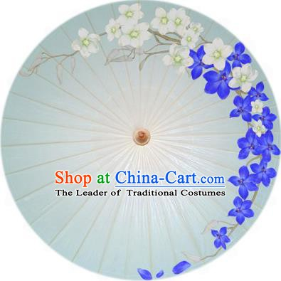 Handmade China Traditional Folk Dance Umbrella Printing Blue Flowers Oil-paper Umbrella Stage Performance Props Umbrellas