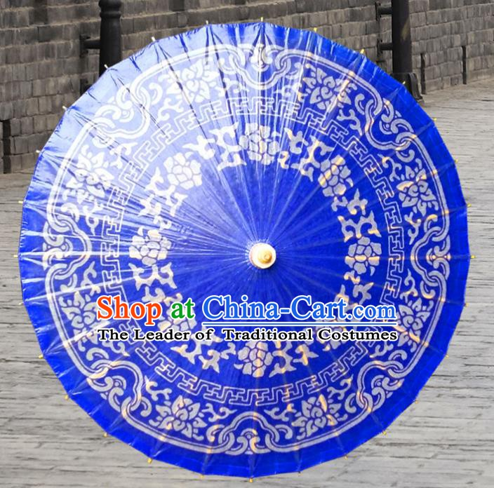 Handmade China Traditional Folk Dance Umbrella Stage Performance Props Umbrellas Printing Blue Oil-paper Umbrella