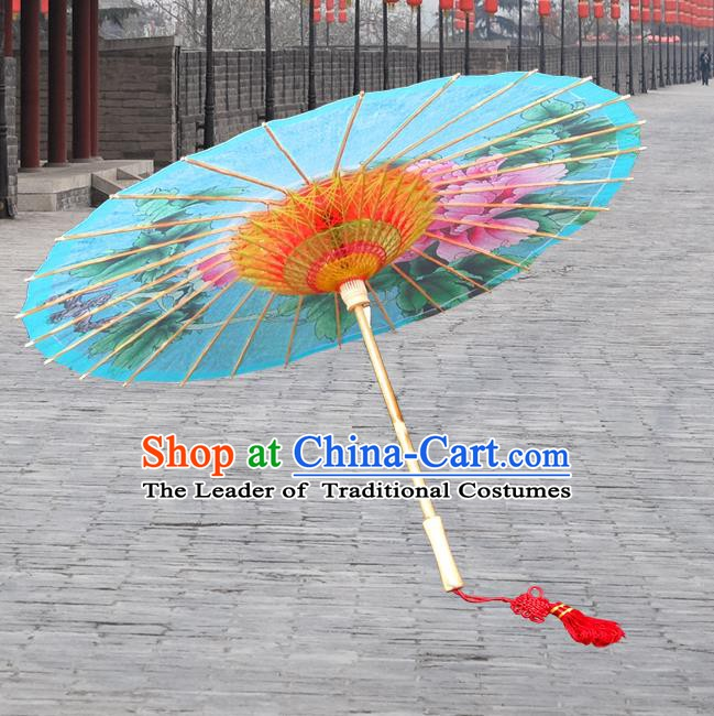Handmade China Traditional Folk Dance Umbrella Stage Performance Props Umbrellas Printing Peony Blue Oil-paper Umbrella