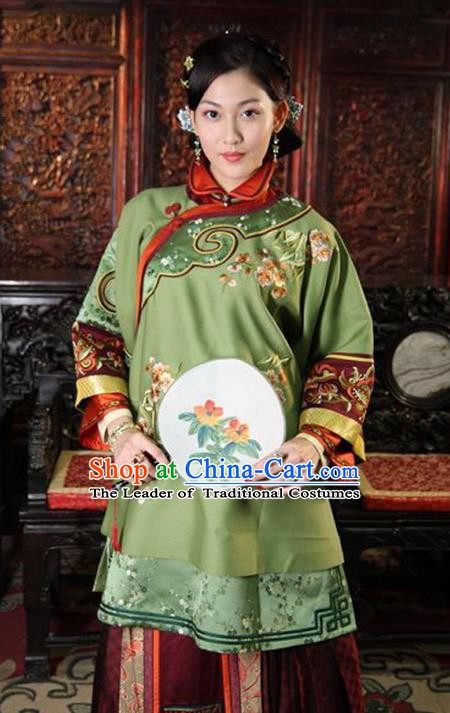 Traditional Chinese Ancient Qing Dynasty Young Mistress Embroidered Green Xiuhe Suit Clothing for Women