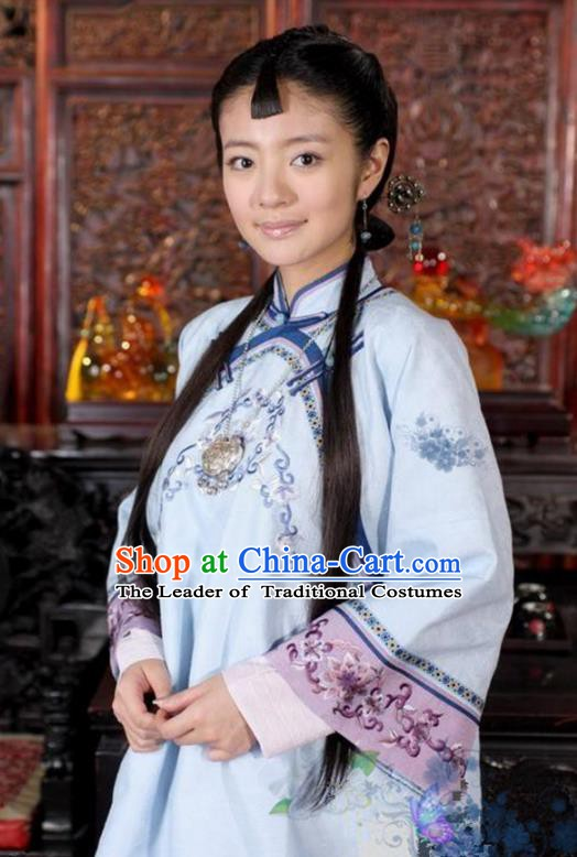 Traditional Chinese Ancient Qing Dynasty Young Mistress Embroidered Blue Xiuhe Suit Clothing for Women