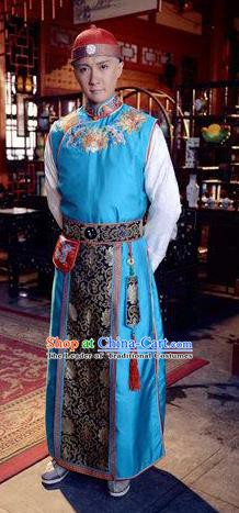 Traditional Chinese Ancient Qing Dynasty Manchu Royal Highness Embroidered Costume for Men