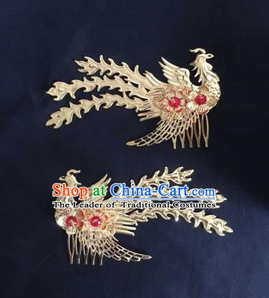 Asian China Handmade Classical Hair Accessories Phoenix Hairpins Hair Comb