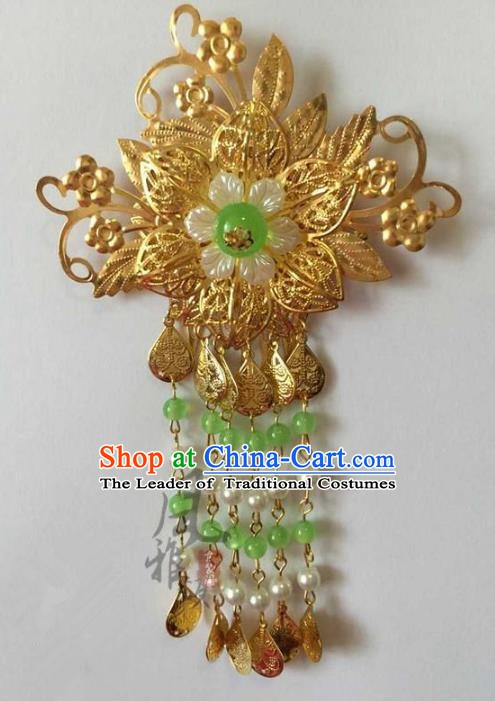 Asian China Handmade Classical Hair Accessories Hairpins Green Beads Tassel Step Shake